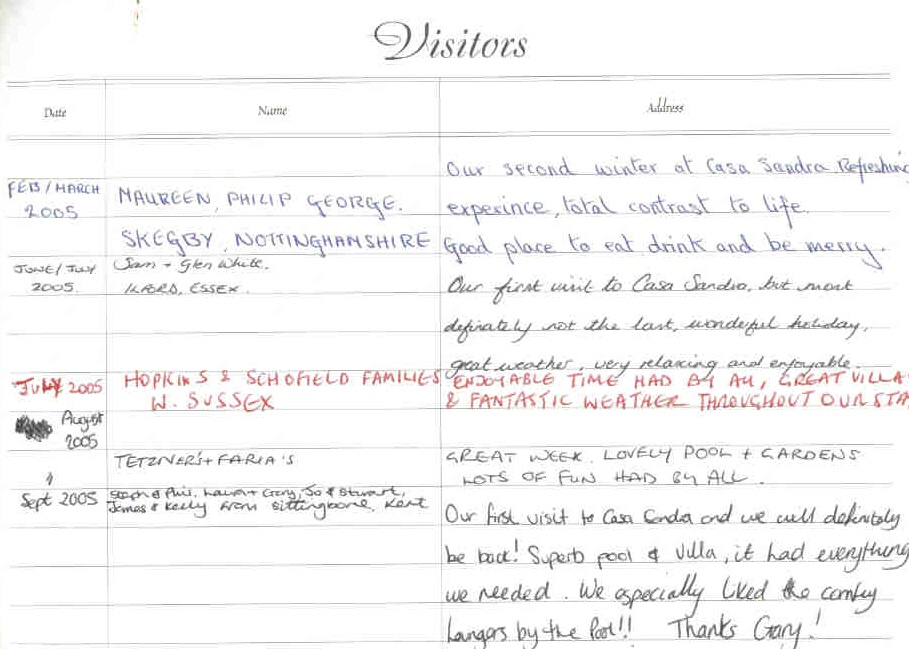 Visitor comments page 1