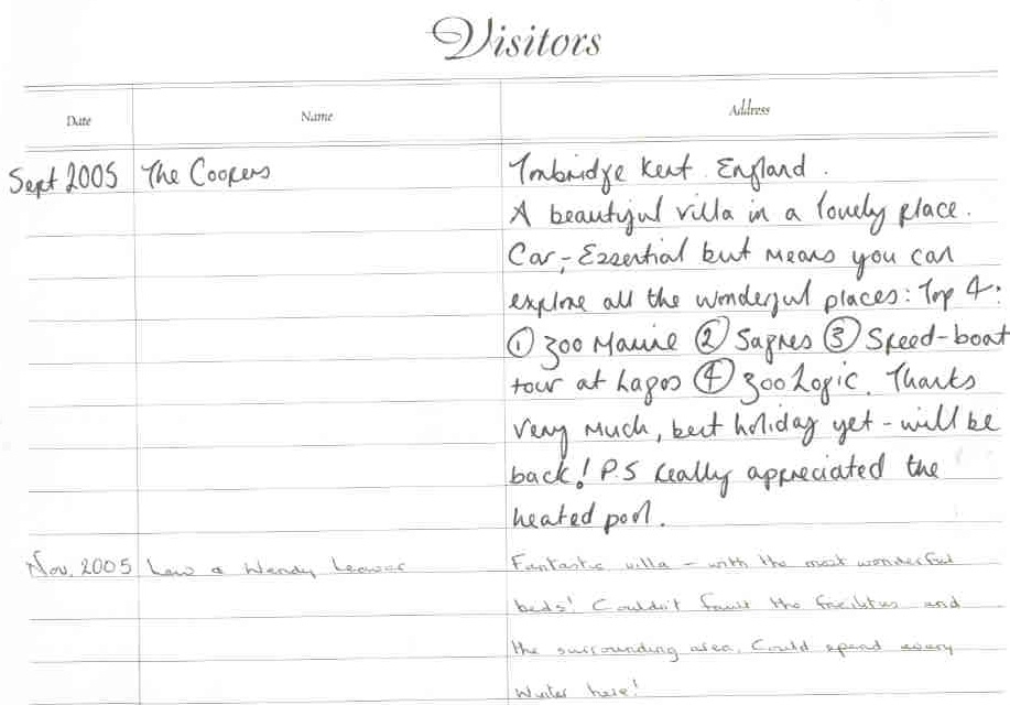 Visitor comments page 2
